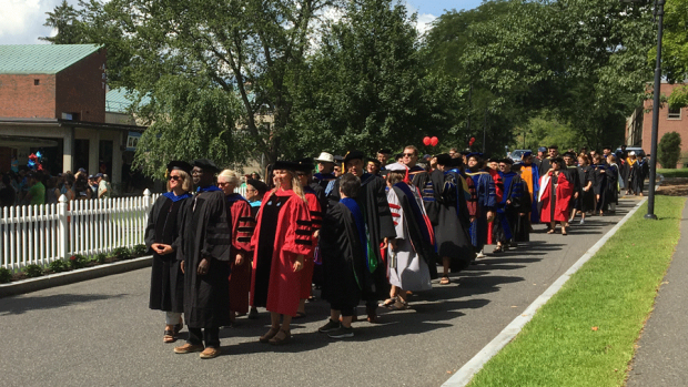 Photo of the Mount Holyoke faculty lined up before Convocation