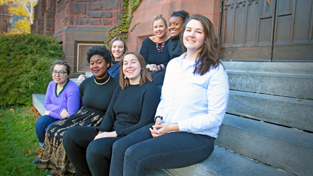 Deans Latrina Denson and Marcella Runnell Hall (back row from left) with members of the MoZone team: (front from left) Julia McConnell '17, Azulina Green '17, Monique Roberts '19, and Aicha Belabbes '19, with Sarah Braverman '17 in back