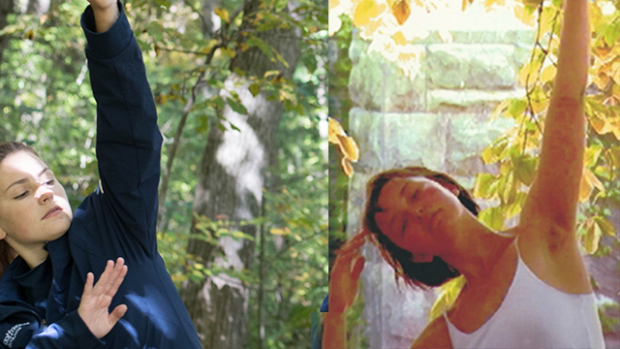 Two parallel images show a woman dancing with their right arm extended. Left: Terre Vandale '02 about 2001, in a white tank top with yellow beech leaves behind her. Right: Ali Griffin '20, in a blue Mount Holyoke sweatshirt, in the woods, 2018.
