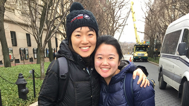 After Emily Chang '18 (left) interned with Yiting Wang '11 at the World Wide Fund for Nature, Wang invited her to attend a conference at Columbia University.