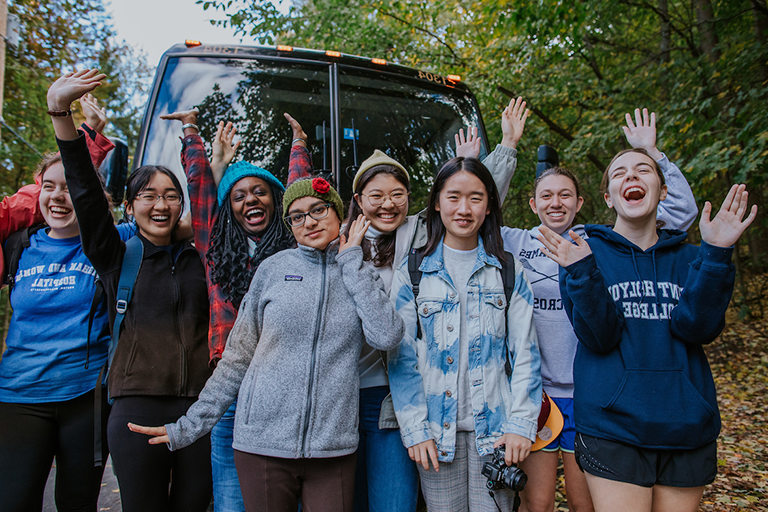 A group of Mount Holyoke students celebrate Mountain Day